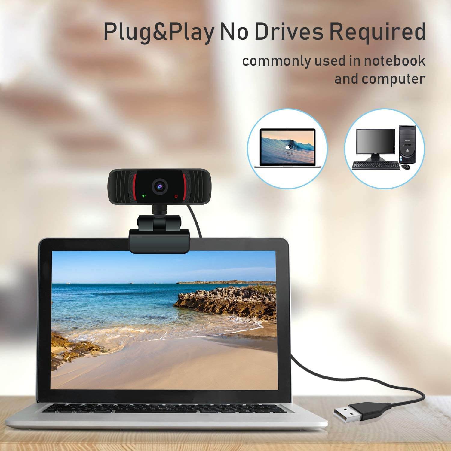 Camera and Microphone for Zoom//Video Calling Recording//Gaming//Conferencing//Skype Streaming//Laptop Peteme 1080P HD Web Cameras for Computers with Plug and Play USB Webcam with Microphone for Desktop