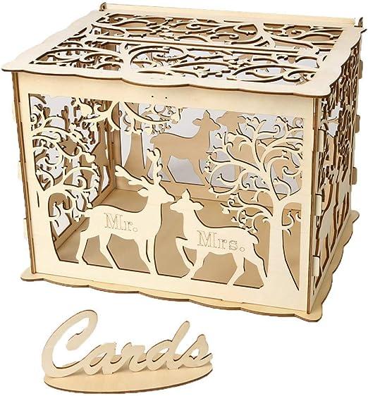 Richaa Bricolaje Caja de tarjetas de boda de madera con candado y ...