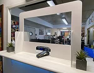 Mampara Mostrador de PVC Transparente - 95 x 65 cm. - Fácil Montaje: Amazon.es: Oficina y papelería