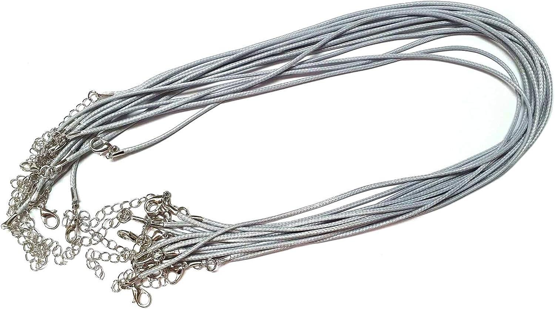 Perlin – Collar de cadena de 43 cm con cierre de mosquetón y cadena de extensión trenzada, para joyas DIY C176