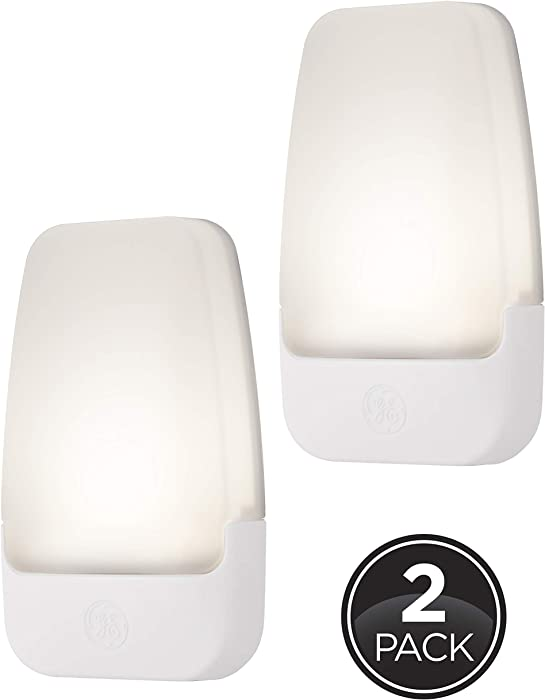 GE Automatic LED Night Light, 2 Pack, Plug-in, Dusk-to-Dawn Sensor, Home Décor, Ideal for Bedroom, Nursery, Bathroom, Hallway, Soft White, 30966