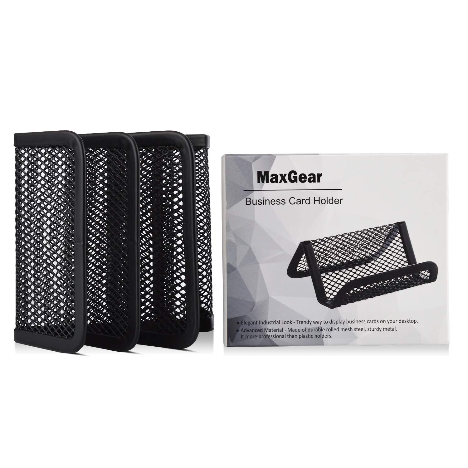 MaxGear Metal Mesh Business Card Holder Stand for Desk Office Business Card Holders Mesh Collection Organizer for Name Card Black Mesh Business Card Display 3 Pack Capacity 50 Cards