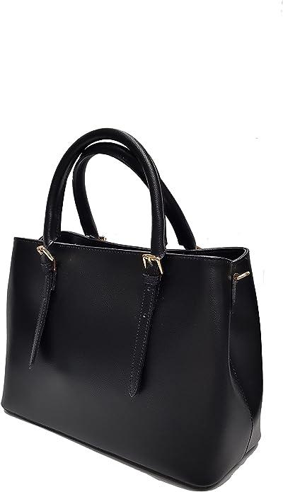 Borsa da donna nera in vera pelle a mano e tracolla rigida elegante made in italy