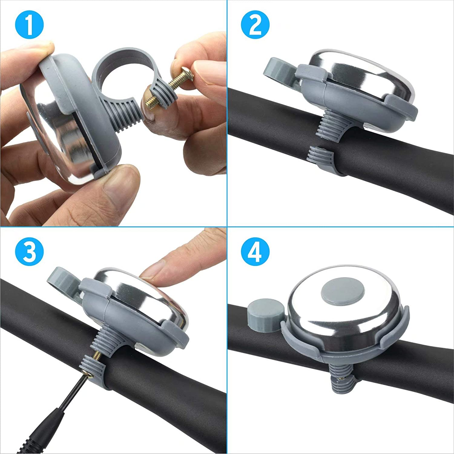 ONLYWIN Bike Bell Right Up for Handlebars Bicycle Bell with Melodious Ring Crisp Lond for Adults Girls Boys Kids Mountain//Road Bike Bell 2 Pack
