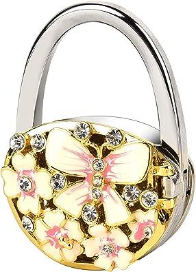 Amazon.com: LUXUR Purse Holder For Tables Handbag Hanger Folding Table  Hanger For Women's Gift Purse Hook For Table Desk (pink flower with  mirror): Shoes
