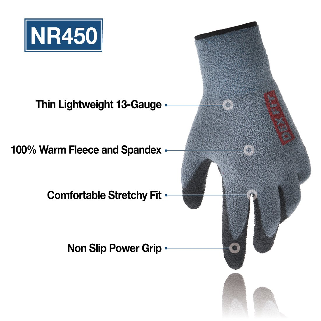 DEX FIT Warm Fleece Work Gloves NR450, Comfort Spandex Stretch Fit, Power Grip, Thin & Lightweight, Durable Nitrile Coated, Machine Washable, Grey Medium 3 Pairs Pack by DEX FIT (Image #2)