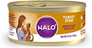 Halo Grain Free Natural Wet Cat Food - Premium and Holistic Whole Meat Turkey Stew - 5.5oz Can (Pack of 12) - Sustainably Sourced Adult Cat Food that's non-GMO, BPA Free, and Highly Digestible