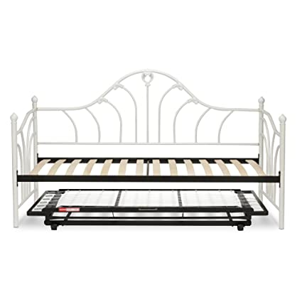 Emma Complete Metal Daybed With Euro Top Deck And Trundle Bed Pop Up Frame