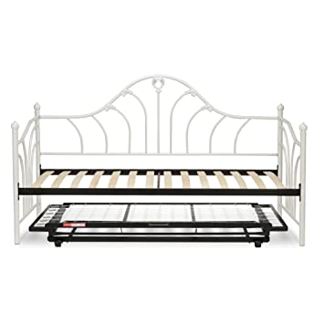 emma complete metal daybed with euro top deck and trundle bed pop up frame - Metal Trundle Bed Frame