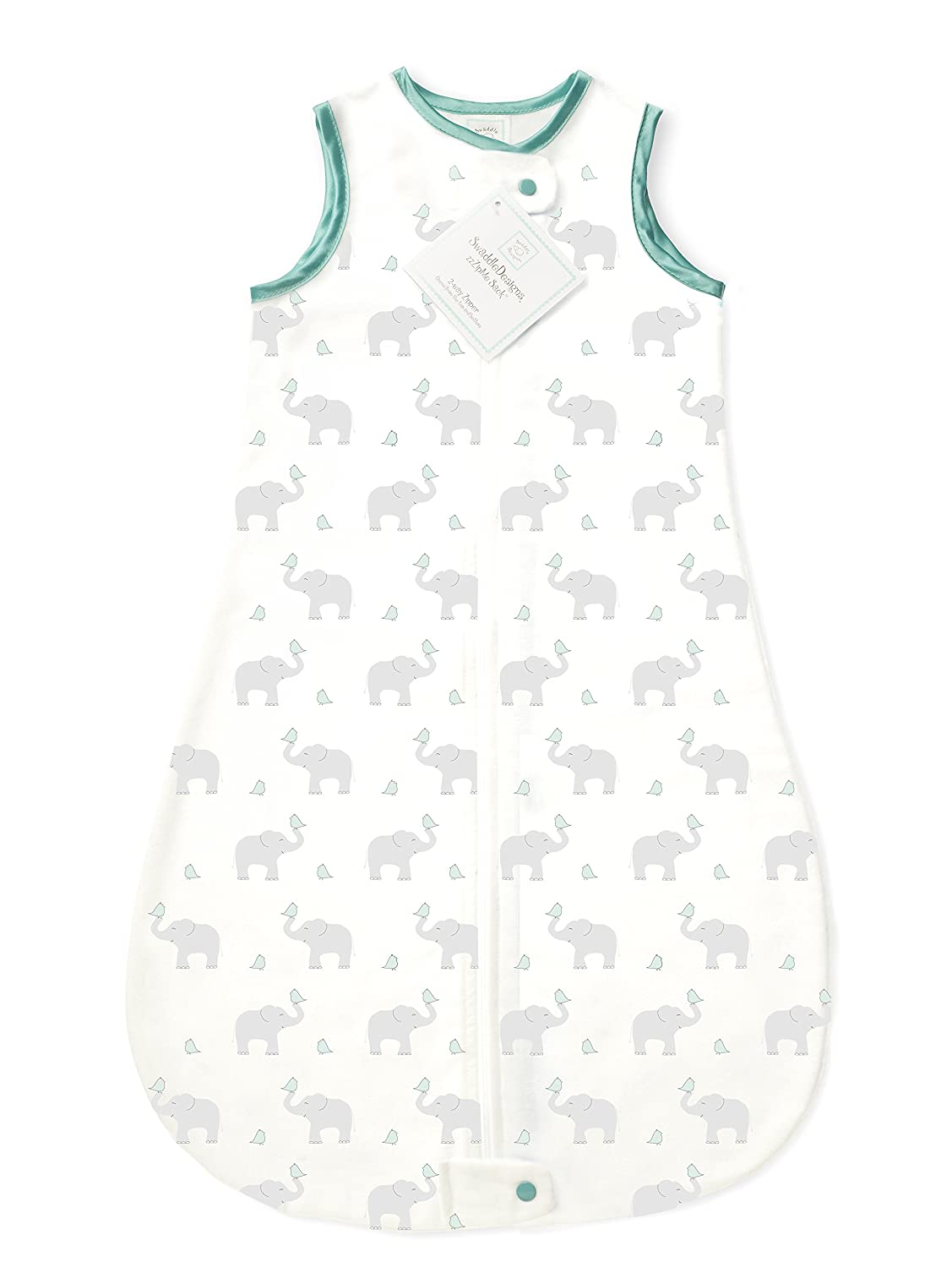 buy online 76a3f 2fd2a SwaddleDesigns Cotton Sleeping Sack with 2-Way Zipper, Made in The USA,  Premium Cotton Flannel, Elephant and Pastel SeaCrystal Chickies, 0-6MO