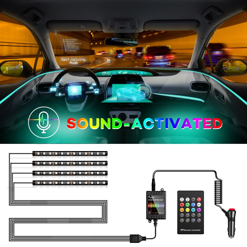 Megulla Car Interior Lights, 4pcs 48 LED RGB Multicolor Music Car LED Strip Light, Waterproof Underdash Lighting Kits Sound Active Function Simple Control, 12V Car Charger Included MG-CIL102