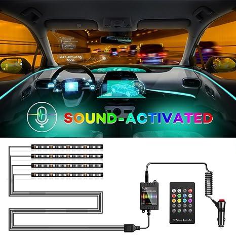Amazon Com Megulla Car Interior Lights 4pcs 48 Led Rgb Multicolor