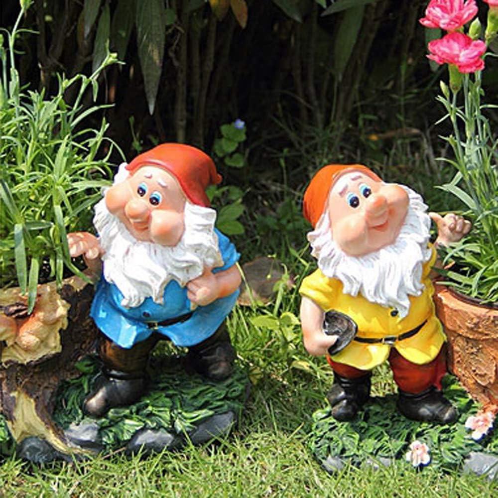 Figura Decorativa para jardín Creativo Duende Enano Escultura De Resina Impermeable Estatua Del Jardín Para La Yarda Del Césped Del Paisaje Decoración Hace El Regalo - (A B) B:20 * 11 *