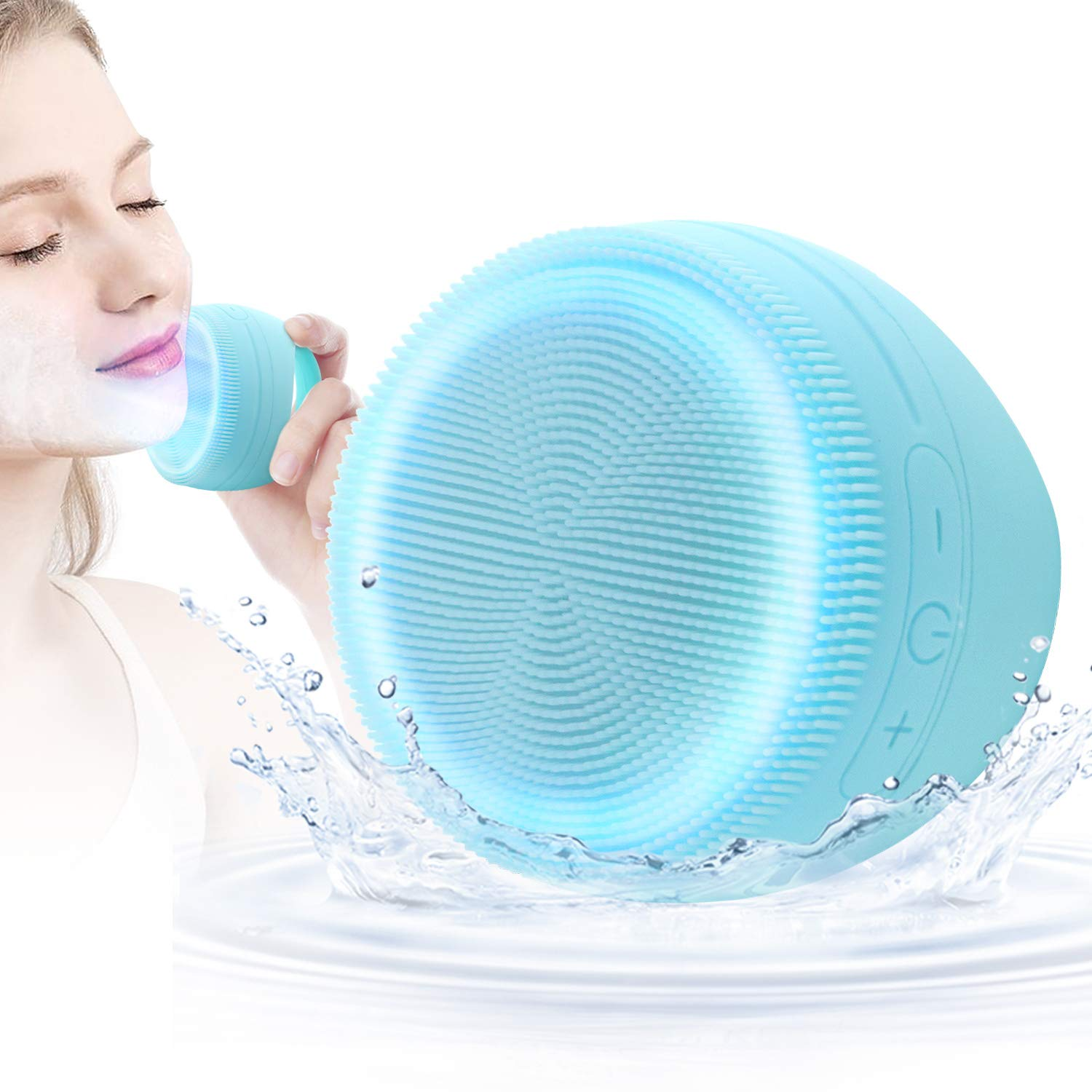 CHITRONIC Sonic Vibrating Facial Cleansing Silicone Brush - 3 Modes, Red/Blue Light Therapy, Non-slip silicone handle, IPX7Waterproof, Smart Timer, Exfoliating and Massaging, Automatic drying Function