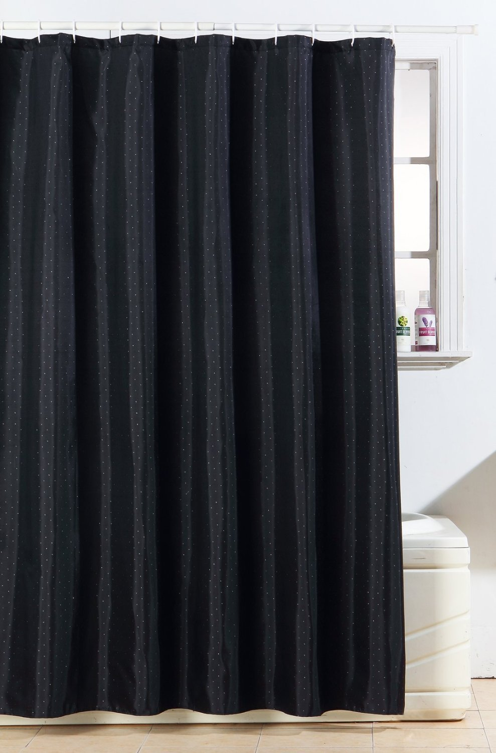 NEW GLITTER DIAMANTE POLYESTER SHOWER CURTAIN BATH WITH FREE HOOKS ...