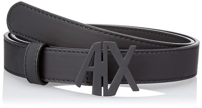 76a72efd1551 Armani Exchange Damen Gürtel eco Leather Belt with Logo Latch, Schwarz  (Nero 00020)