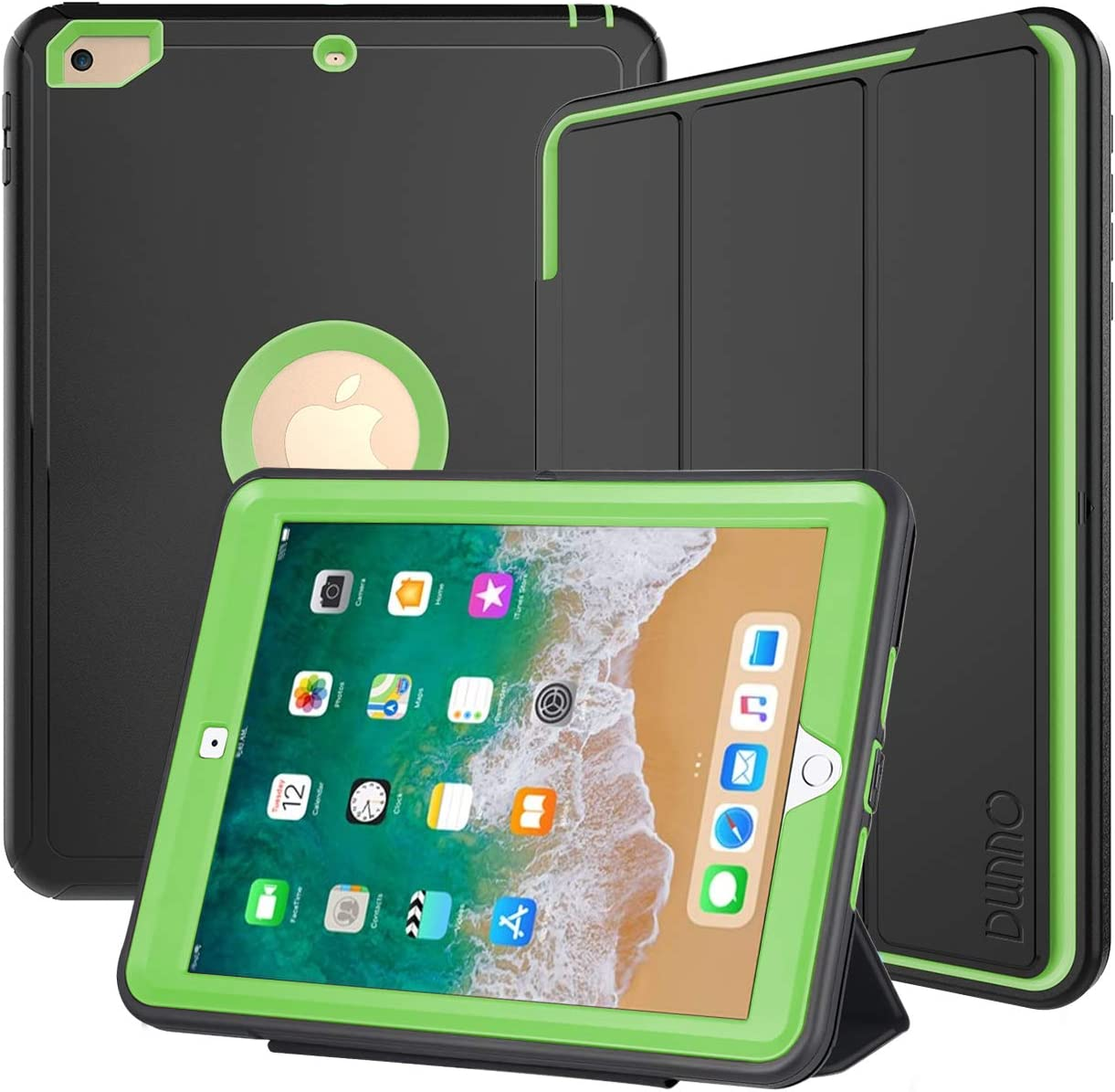 DUNNO iPad 9.7 Inch Case 2017/2018, iPad 6th/5th Generation Case, Heavy Duty Full Protection Smart Case with Detachable Screen Cover/Stand for iPad 9.7 Released in 2018/2017 (Black+Green)