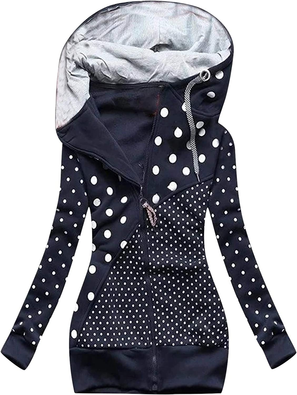 foreverH Damen Kapuzenpullover Winter Langarm Hoodie Pullover Baumwoll Zipped Sweatshirt Winterjacke Mantel High Neck Outwear mit Reißverschlusstasche B#marine