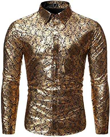 Fashion Men/'s Luxury Shiny Stylish Slim Fit Long Sleeve Casual Dress Shirt Tops