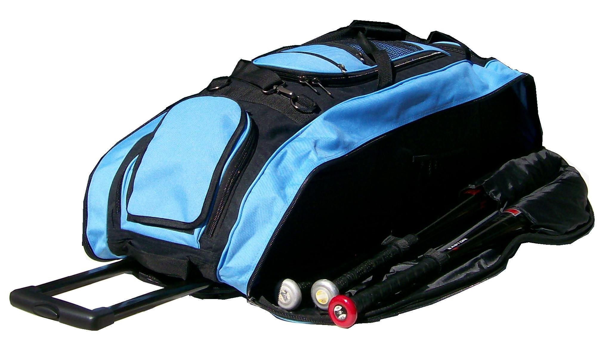 Black and Carolina Blue Cobra XL Softball Baseball Catchers Bat Equipment Roller Bag