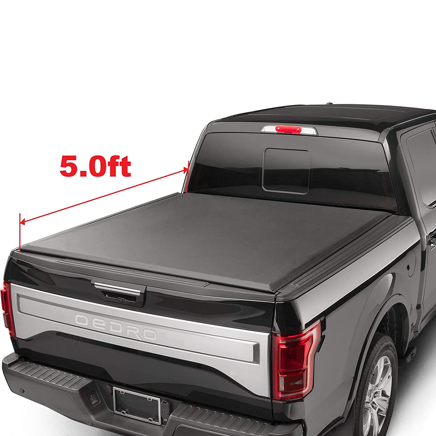 oEdRo Roll Up Truck Bed Tonneau Cover Compatible with 2014-2018 Chevy Silverado/GMC Sierra 1500 | Fleetside 5.8' Bed | for Models Without Utility Track System