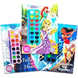Disney Princess Paint With Water Super Set for Girls Kids - 3 Deluxe Paint Books with Brushes (Featuring Disney Princess, Moana and Frozen)