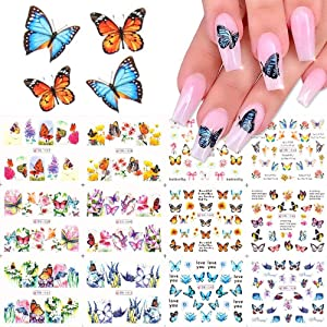 Nail Art Water Decals Butterfly Design for Women Kids- Nail Tattoos for Fingernails Toenails Decor-Full Wraps for DIY or Salon 12 Paper Sheets