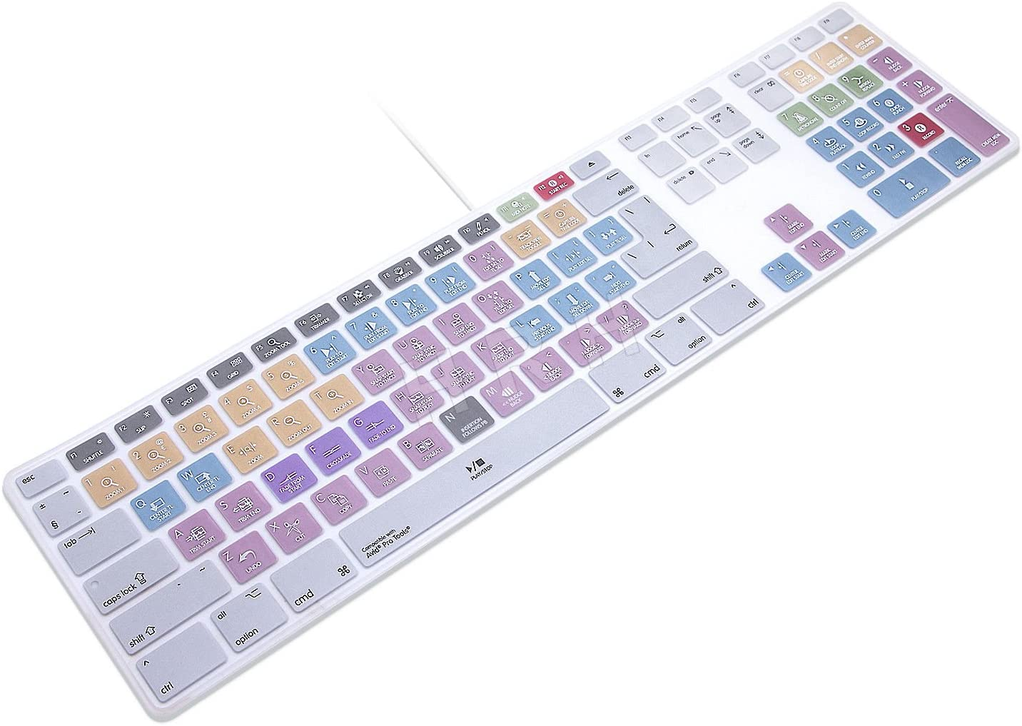 HRH Avid Pro Tools Functional Shortcuts Hot Keys Design Silicone Keyboard Skin Cover for Apple iMac Keyboard G6 with NumberPaid Number pad A1243 MB110LL/B and MB110LL/A[US/EU Layout]