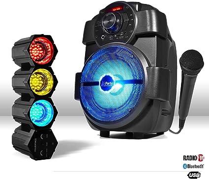 Enceinte Mobile 180w Usb Bluetooth Radio Jeu De Lumière Chenillard Led Micro Amazon Fr Instruments De Musique