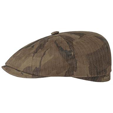 59b07f367355d Stetson Hatteras Waxed Cotton Camo Flat Cap Men