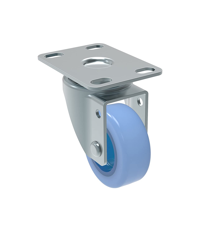 BH 1 x 2 Schioppa Plate: 2 x 2-1//2 50 mm Swivel Non-Brake Caster 50 mm 2 BH 1 x 2 2 Non-Marking Polyethylene Wheel GL 210 Citrus Blue 90 lbs Swivel Non-Brake Caster Plate: 2 x 2-1//2