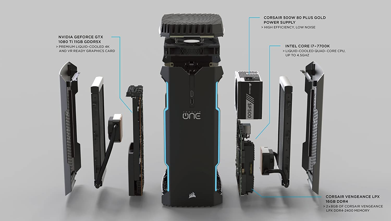Towers CORSAIR ONE i140 Compact Gaming Desktop PC,i7-9700K