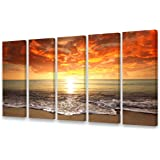 S0158 Canvas Prints Wall Art Sunset Ocean Beach Pictures Photo Paintings for Living Room Bedroom Home Decorations Modern…