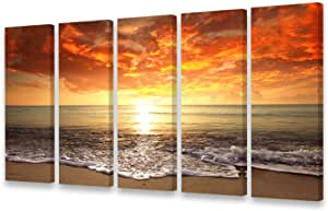 S0158 Canvas Prints Wall Art Sunset Ocean Beach Pictures Photo Paintings for Living Room Bedroom Home Decorations Modern Stretched and Framed Waves Seascape Waves Landscape Giclee Artwork