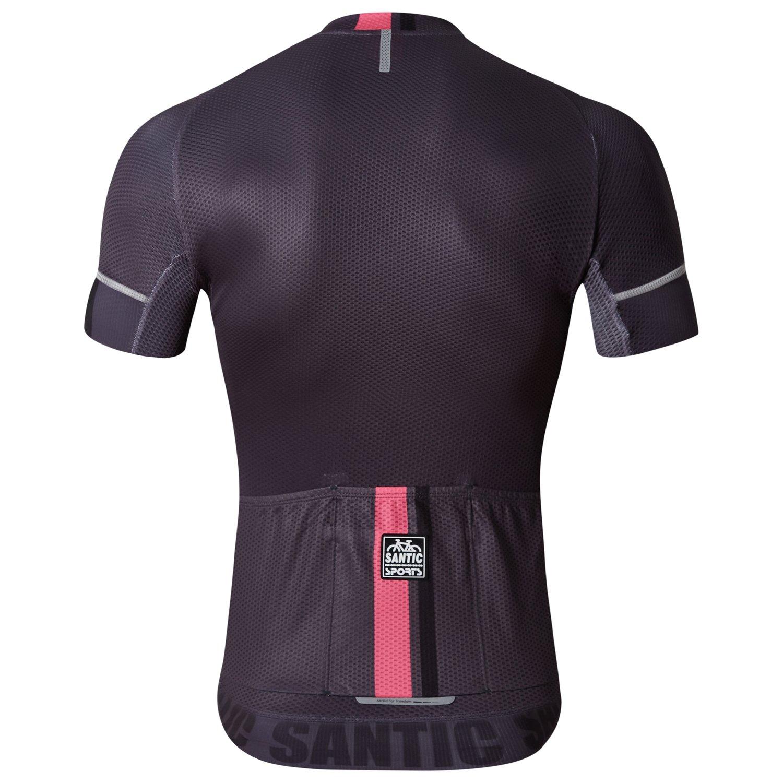 419b680ec8e Amazon.com   Santic Cycling Jerseys Men s Short Sleeve Bike Shirts Full Zip  Bicycle Jacket with Pockets   Sports   Outdoors