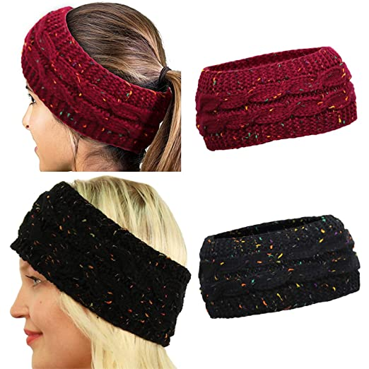 DRESHOW Winter Knit Headbands Chunky Headwrap for Women Crochet ... 0a287262531