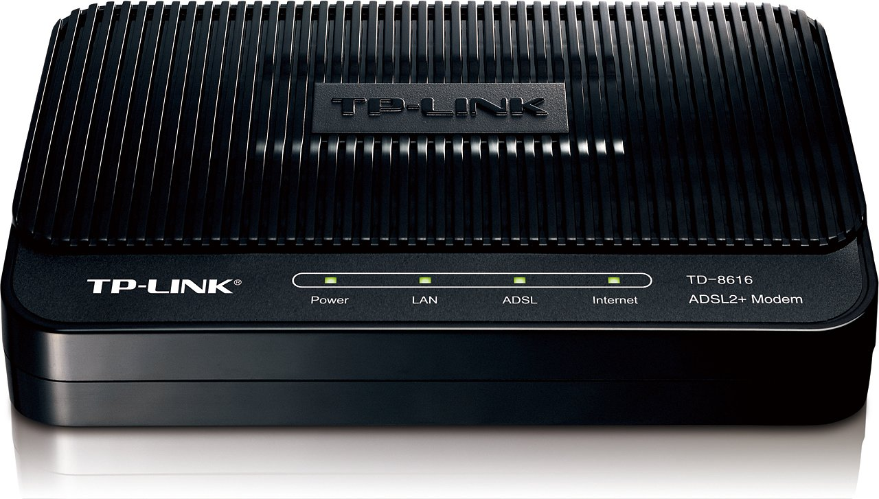 TP-Link TD-8616 ADSL2 Plus Modem, 1 RJ45, Bridge Mode, Annex A, ADSL Splitter, 24 Mbps Downstream, Wireless Networking