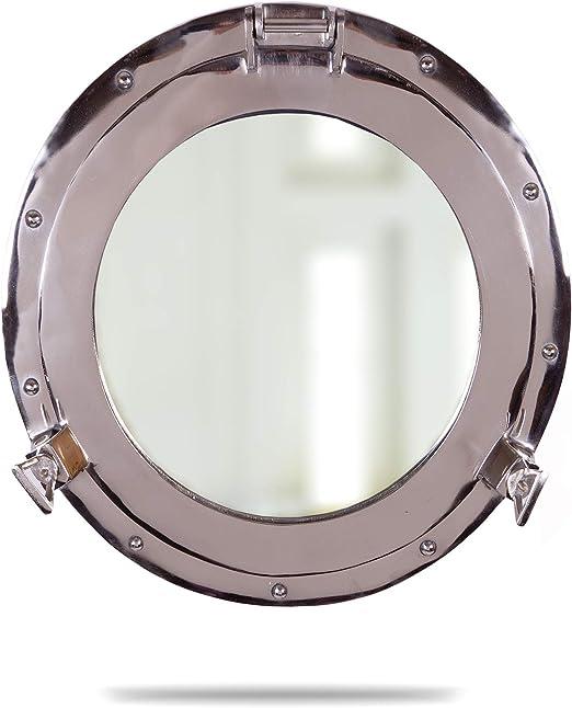 "Maritime Brass Porthole Round Window Glass Nautical Boat Ship Porth Mirror 10/"""
