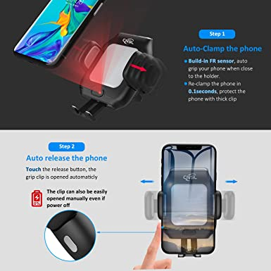 Wireless Car Charger Mount,CNSL Patent Auto Clamping QI 15W Fast Charging Metal Motor Phone Holder with Strong Suction,Air Vent Windshield Dashboard Stand,Compatible with iPhone Xs XR 8,Samsung S10 S8