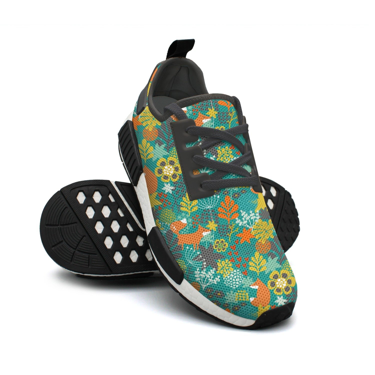 ktyyuwwww Womens Colorful Neutral Fox In The Flowers Birthday Decorations Cool Design Running Shoes
