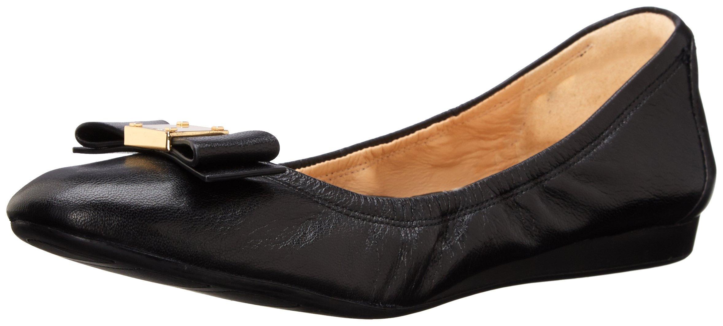 Cole Haan Women's TALI BOW BALLET Shoe, Black Leather, 9 B US