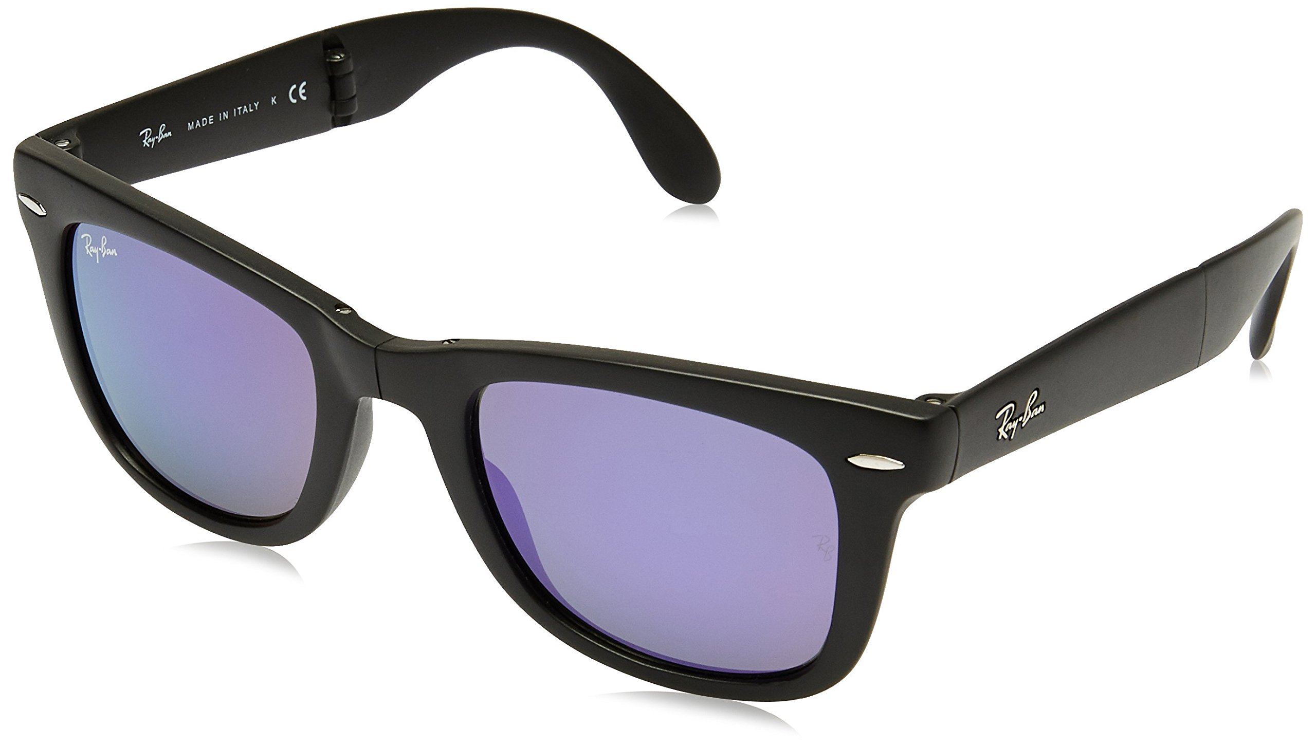 Ray-Ban FOLDING WAYFARER - MATTE BLACK Frame GREY MIRROR LILAC Lenses 50mm Non-Polarized
