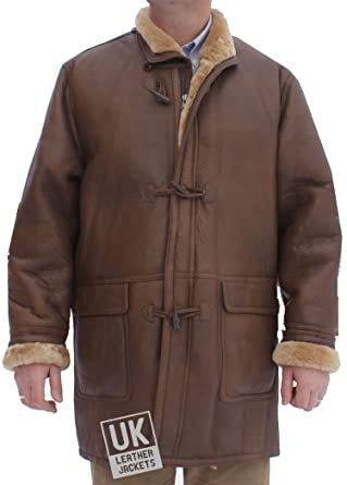 Mens Brown Hooded Shearling Sheepskin Duffle Coat - Sealed Leather ...