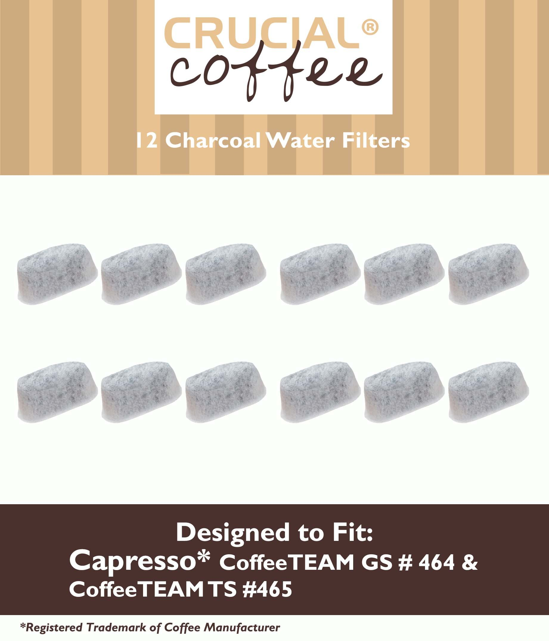 12 Capresso 4640.93 Charcoal Water Filters - Fits Capresso CoffeeTeam