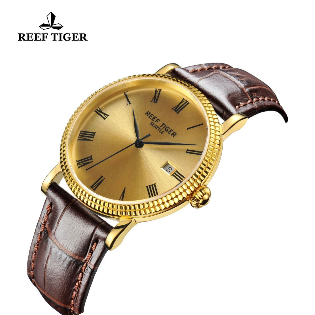 Reef Tiger Designer Dress Watches for Men Yellow Gold Case Leather Strap Date Automatic Watch RGA163 by REEF TIGER (Image #6)