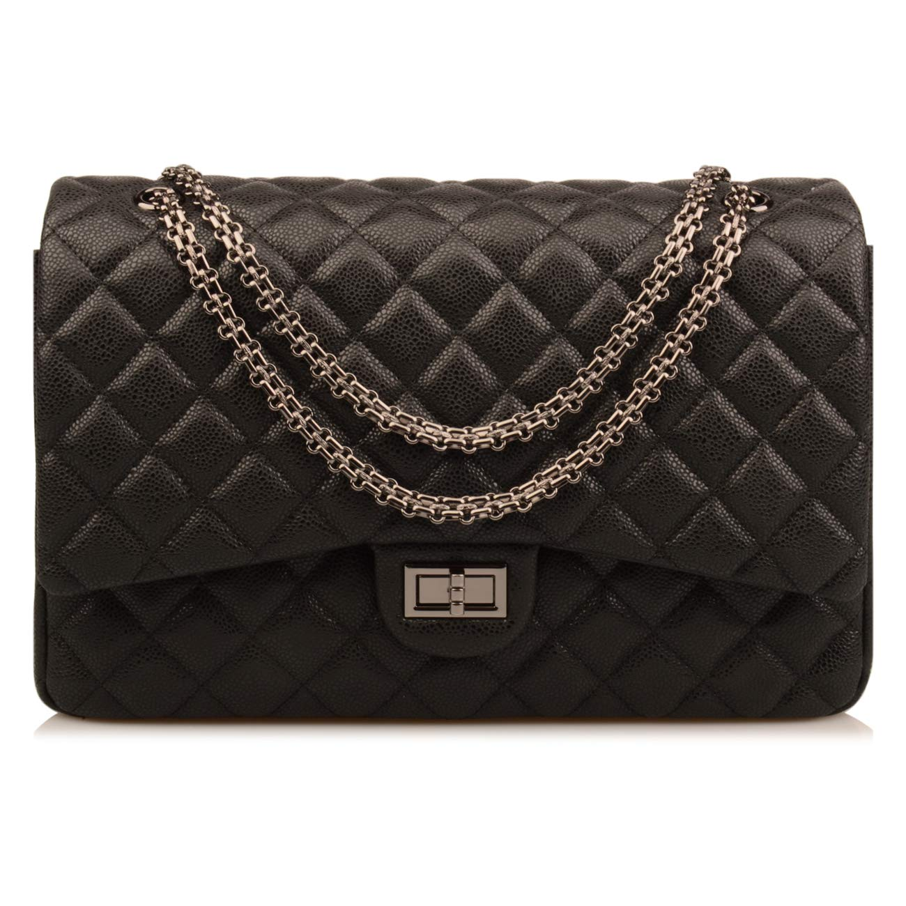 ba0683315778 Amazon.com: Ainifeel Women's Quilted Oversize Genuine Leather Shoulder  Handbag Hobo Bag Purse (X-Large, Black (stiff cow leather gunmetal  hardware)): Shoes