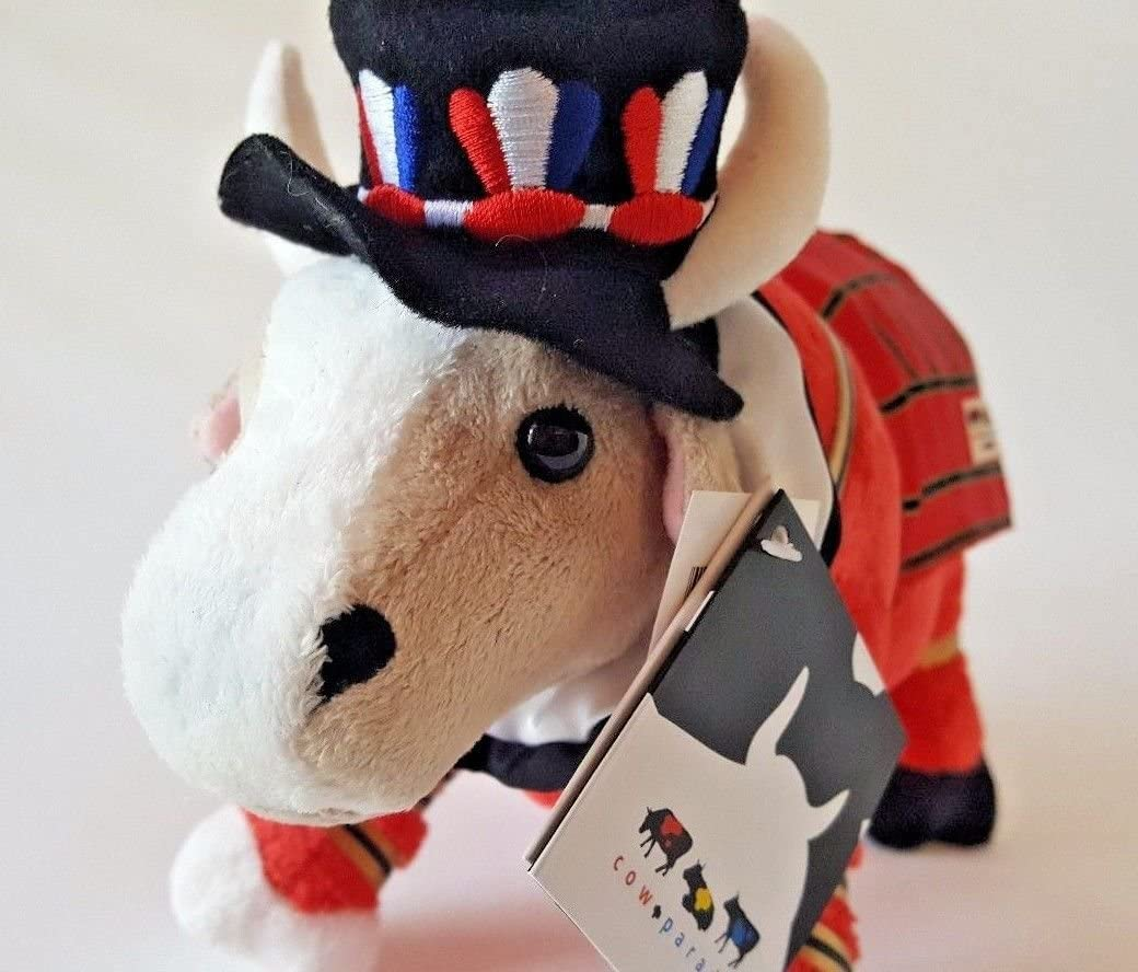 "HERRINGTON BEARS LARGE STUFFED PLUSH COW 11/"" LONDON GUARDSMAN COW PARADE"