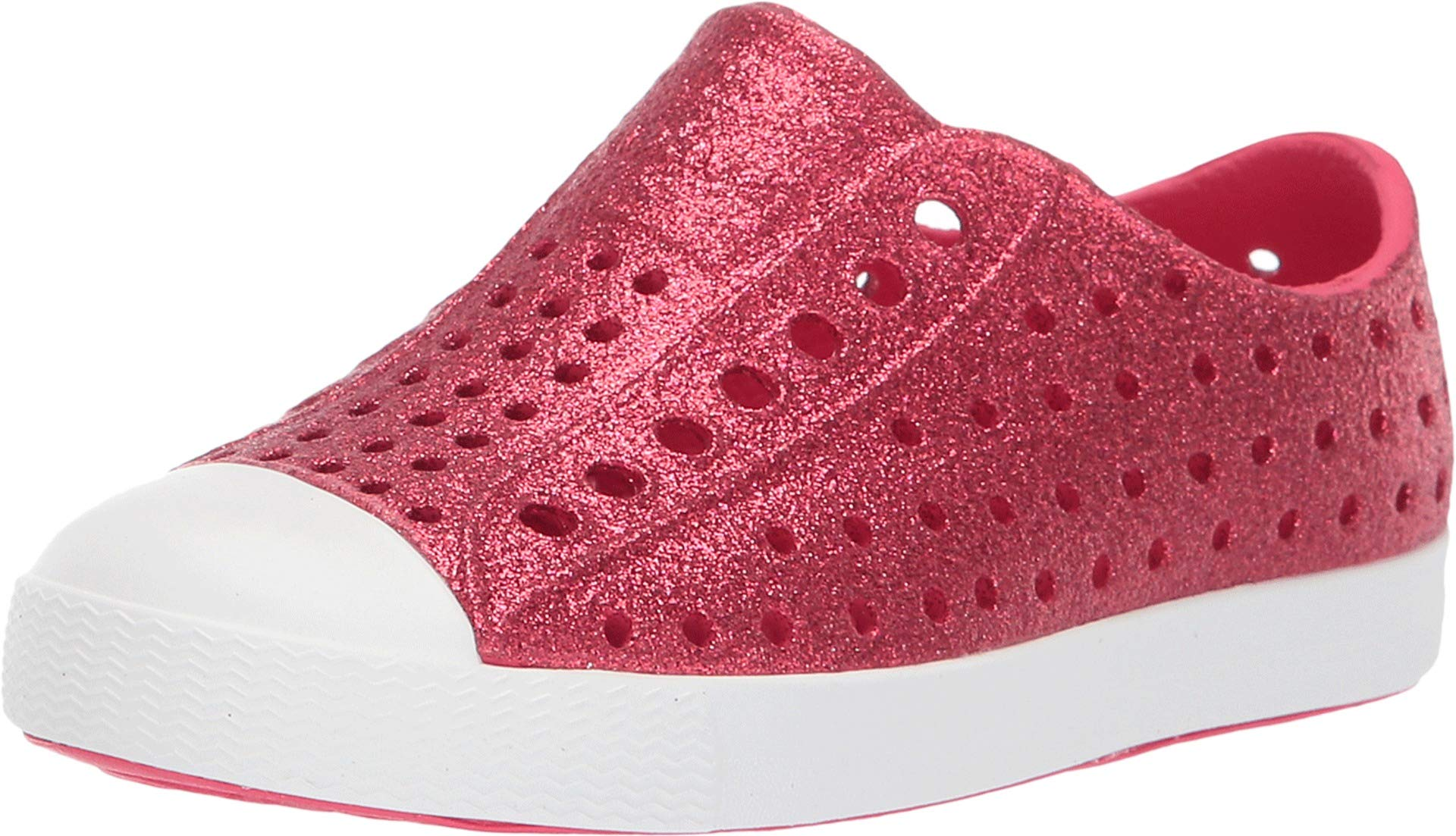 Native Kids Shoes Baby Girl's Jefferson Bling Glitter (Toddler/Little Kid) Sakura Pink Bling Glitter/Shell White 4 M US Toddler