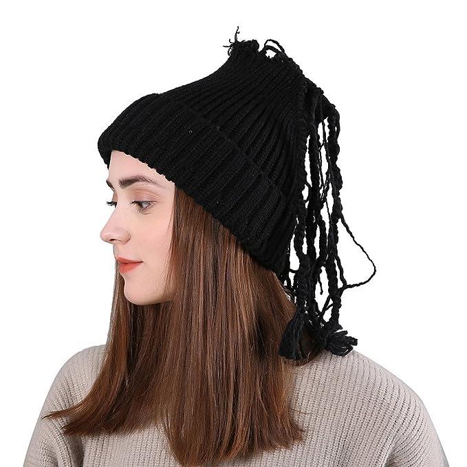 5d6dc942a8e TWGONE Womens Slouchy Beanie Winter Hat Knit Warm Snow Ski Skull Cap Wool  Solid Manual Braid Beanie Crochet Cap(One Size