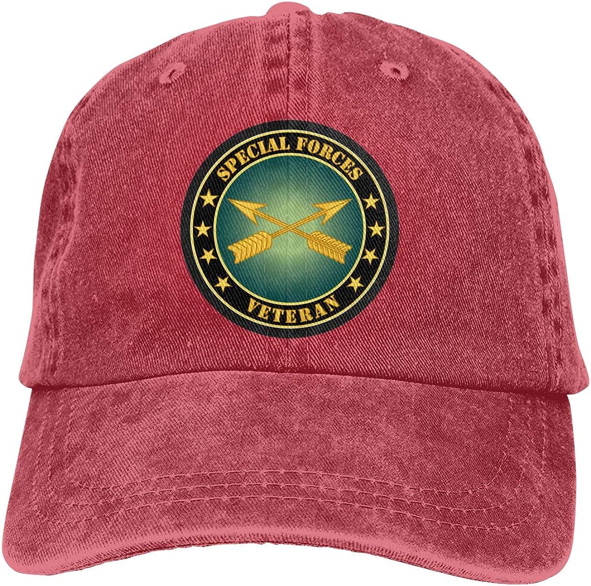 Men Women Classic Yarn-Dyed Denim Baseball Cap Special Forces Veteran Snapback Cap